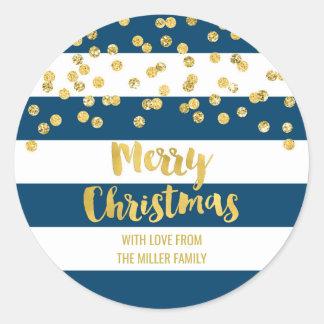 Adesivo Redondo Feliz Natal dos confetes do ouro das listras azuis