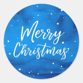 Adesivo Redondo Feliz Natal elegante do azul da aguarela do