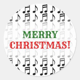 """Adesivo Redondo """"Feliz Natal!"""" + Grade de notas musicais"""