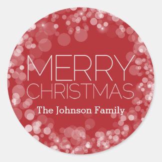 Adesivo Redondo Feliz Natal moderno Bokeh vermelho personalizado