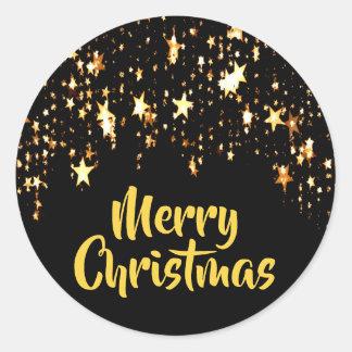 Adesivo Redondo Feliz Natal no preto com estrelas de brilho