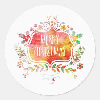 Adesivo Redondo Feliz Natal retro da aguarela