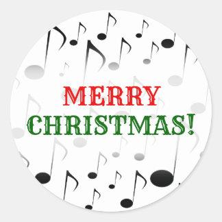 """Adesivo Redondo """"Feliz Natal!"""" + Teste padrão de muitas notas"""
