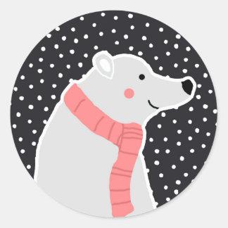Adesivo Redondo Feliz Natal - urso polar