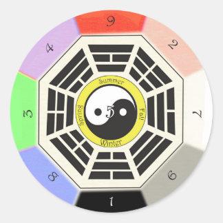 Adesivo Redondo Feng Shui Bagua - três polegadas - 8 cm