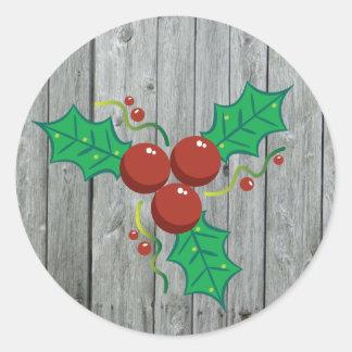 Adesivo Redondo Feriado de madeira rústico do Natal das bagas do