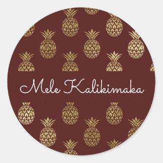 Adesivo Redondo Feriado do Natal do abacaxi de Mele Kalikimaka