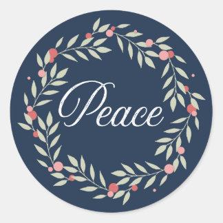 Adesivo Redondo Feriado do ramo de oliveira da grinalda | da paz