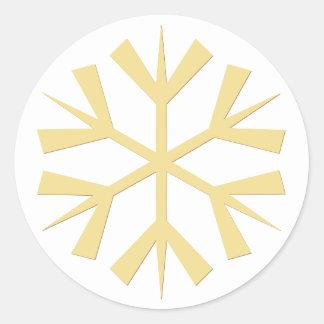 Adesivo Redondo Feriados grandes do Natal do floco de neve do ouro