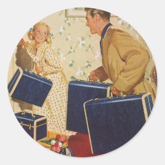 Adesivo Redondo Férias em família do vintage, malas de viagem das