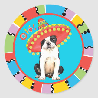 Adesivo Redondo Festa Boston Terrier