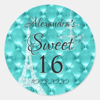 Adesivo Redondo Festa de aniversário azul do doce dezesseis de