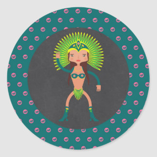 Adesivo Redondo Festa de aniversário brasileira da menina da samba