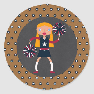 Adesivo Redondo Festa de aniversário da menina dos Pompoms do