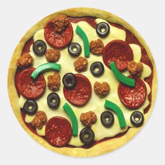 Adesivo Redondo Festa de aniversário da pizza dos miúdos