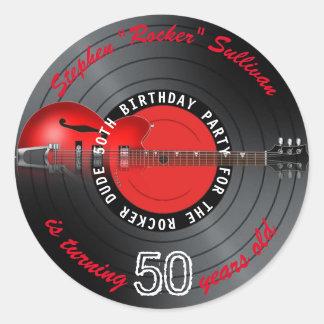 Adesivo Redondo Festa de aniversário do registro 50th da guitarra