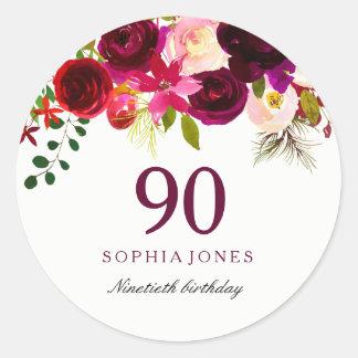 Adesivo Redondo Festa de aniversário floral vermelha do 90 de
