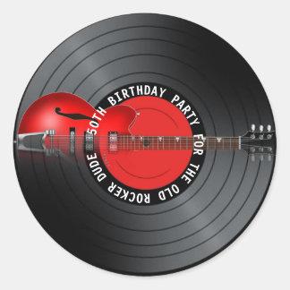 Adesivo Redondo Festa de aniversário idosa do registro 50th da