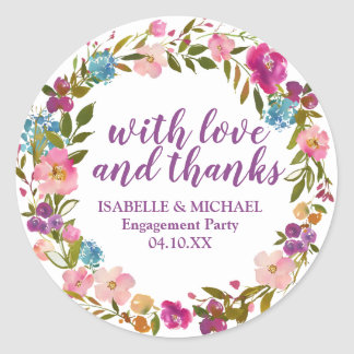 Adesivo Redondo Festa de noivado floral roxa personalizada