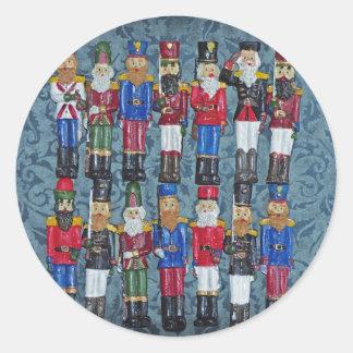 Adesivo Redondo Figuras do natal vintage, soldados idosos