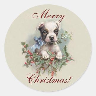 Adesivo Redondo Filhote de cachorro de Boston Terrier - feriado