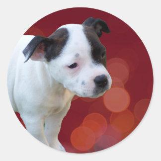 Adesivo Redondo Filhote de cachorro preto e branco de