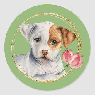 Adesivo Redondo Filhote de cachorro que guardara a flor de Lotus