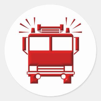 Adesivo Redondo Firetruck vermelho