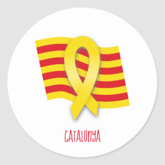 Adesivo Redondo Fita e bandeira Catalan