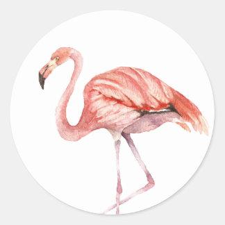 Adesivo Redondo Flamingo cor-de-rosa