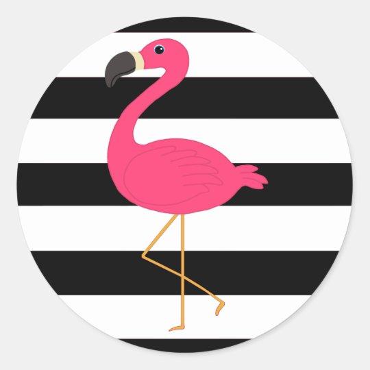 Artesanato Passo A Passo Com Cd ~ Adesivo Redondo Flamingo preto e branco do rosa da listra