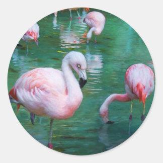 Adesivo Redondo Flamingos cor-de-rosa em uma lagoa