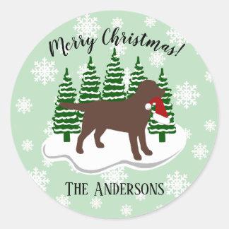 Adesivo Redondo Flocos de neve do Evergreen do Natal de Labrador