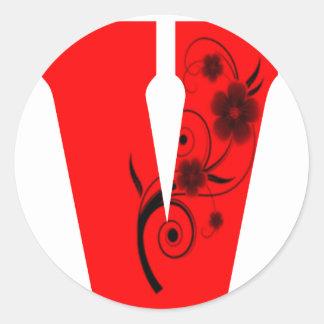 Adesivo Redondo Flor da letra V