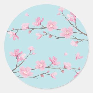 Adesivo Redondo Flor de cerejeira - azul-céu