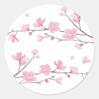 Adesivo Redondo Flor de cerejeira - Transparente-Fundo