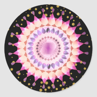 Adesivo Redondo Flor de Lotus cor-de-rosa em confetes do ouro