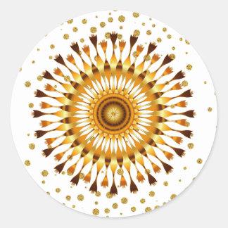 Adesivo Redondo Flor de Lotus do ouro com confetes dourados no