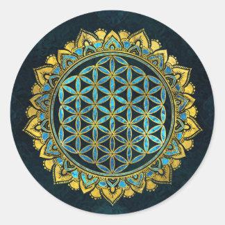Adesivo Redondo Flor do ouro da vida um o vidro azul da textura