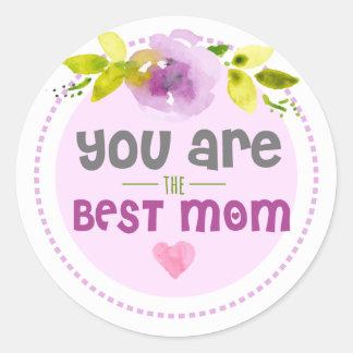 Adesivo Redondo Flor roxa doce você é a melhor mamã