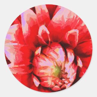 Adesivo Redondo Flor vermelha grande