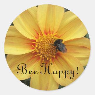 Adesivo Redondo Floral amarelo feliz da abelha