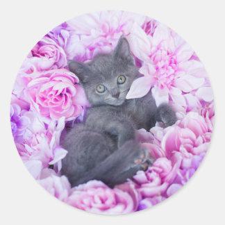 Adesivo Redondo Floral roxo do gatinho do telhador
