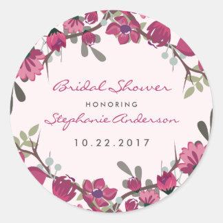 Adesivo Redondo Flores & chá de panela roxos modernos da