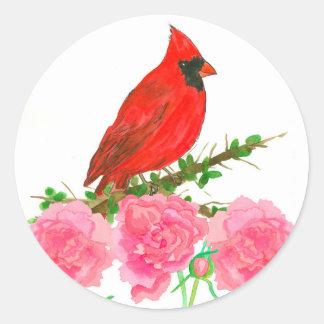 Adesivo Redondo Flores cor-de-rosa cardinais da aguarela da peônia