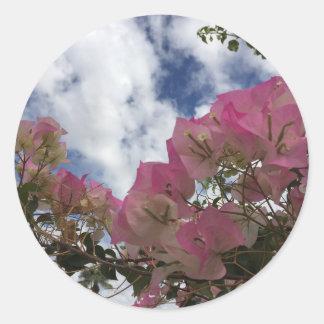 Adesivo Redondo flores cor-de-rosa contra um céu azul