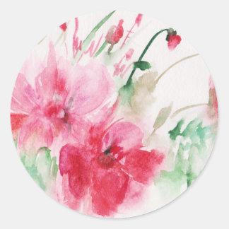 Adesivo Redondo Flores cor-de-rosa maravilhosas