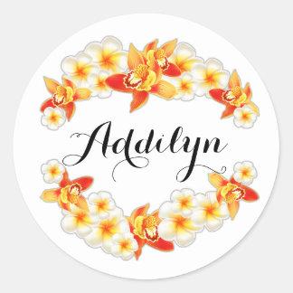 Adesivo Redondo Flores da orquídea e do Plumeria, elegantes