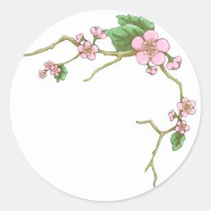 Adesivo Redondo Flores de Sakura