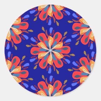 Adesivo Redondo Flores de Starburst em vermelho e azul corajosos